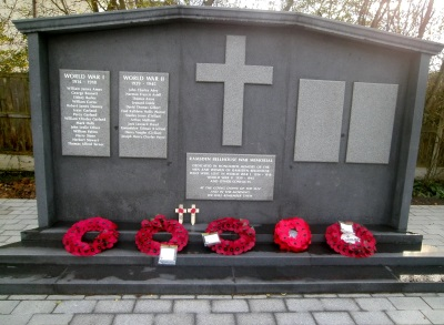 Memorial with poppies